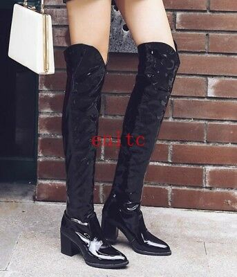 e6d417a00f9 RIDING WOMENS SNAKESKIN Knee High Boots Pull On Low Heel Cowboy ...