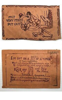 """2 Rare Antique Vintage LEATHER Postcards """"Devil of a Time"""" & """"Put Out of House"""""""