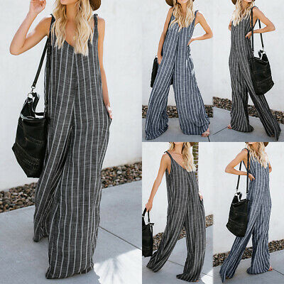 Womens Stripe Dungarees Jumpsuit Harem Strappy Pants Baggy Trousers Overalls