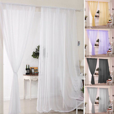 2 Panels Plain White Voile Curtains Rod Pocket Slot Top Net Curtain Home Decors