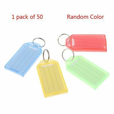50pc Plastic Key ID Label Tags with Split Ring Keyring Name Address Luggage Card