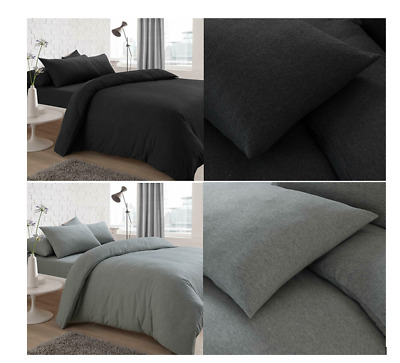 Jersey Fabric Duvet Quilt Cover Set with Pillowcases Non Iron Plain Yarn Dyed