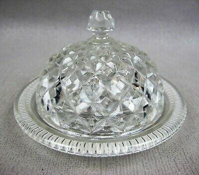 Good vintage clear pressed glass lidded BUTTER DISH - round. 12 cm diameter.