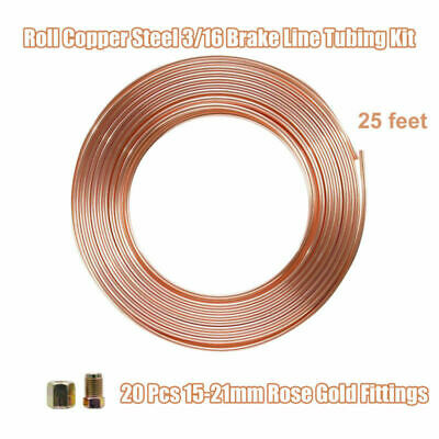 "Copper Steel Nickel Kunifer Brake Line Pipe 7.62M Roll 3/16"" Metric 20 Fitting"