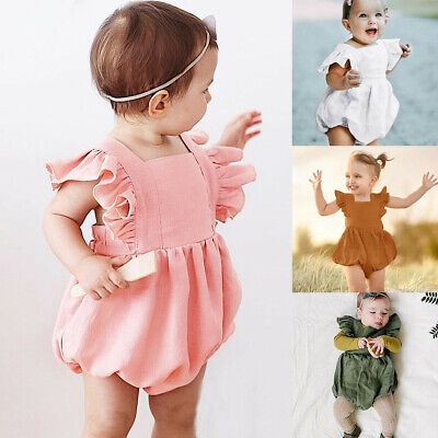 Infant Baby Girl Boy Floral Ruffle Newborn Bear Romper Jumpsuit Playsuit Outfits