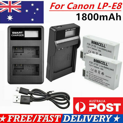 AU 2X Battery or LCD Dual charger For Canon LP-E8 EOS Kiss X4 550D 600D 700D T3i