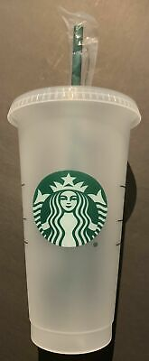 STARBUCKS Reusable Venti 24 OZ Frosted Ice Cold Drink Cup With Lid & Straw RARE