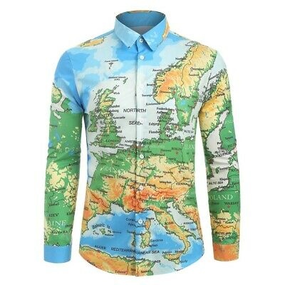 Fashion Men's Casual World Map 3D Print Long Sleeve Turn-down Collar T-Shirt Top