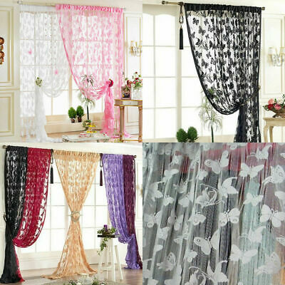 Room Butterfly Voile Sheer Tulle Curtain Window Door Scarf Panel Drape Valance