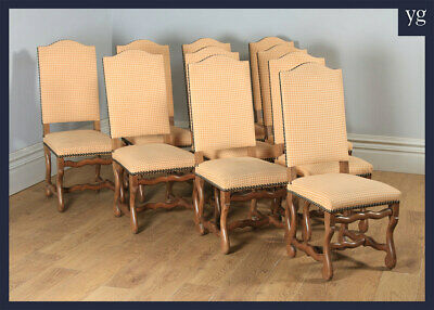 Antique Set Ten 10 French Os De Mouton Upholstered High Back Beech Dining Chairs
