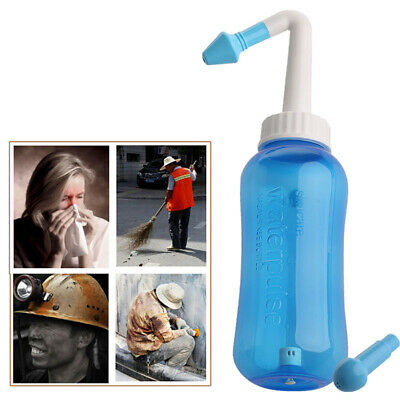 300ml Nasal Wash Neti Pot Nose Cleaner Bottle Nose Irrigator +2 Cleaning Nozzles