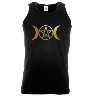 Unisex Black Triple Moon Goddess Vest Pagan Pentacle Wicca Gold