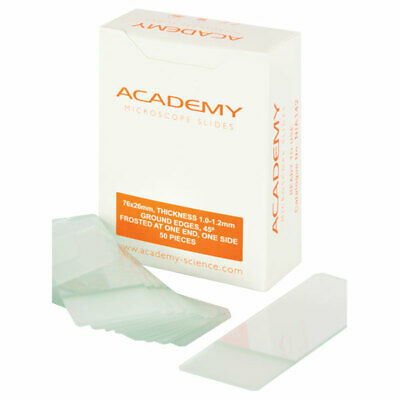Academy Microscope Slides Frosted One End One Side 76 x 26mm Pack of 50