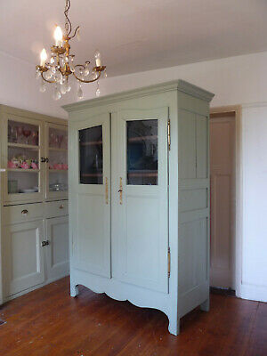 Painted Antique French Armoire Vitrine Linen Cupboard