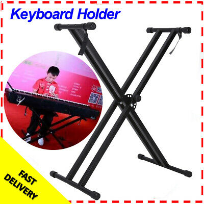 Height Adjustable Double Braced X Frame Music Keyboard Stand & Chair Bench