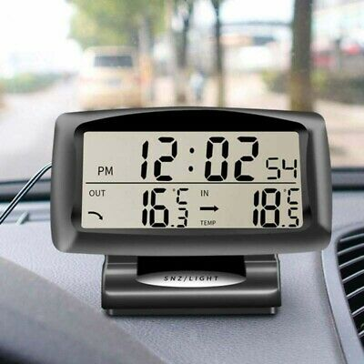 Car LED Digital LCD Thermometer Clock Temperature Meter Backlight Indoor Outdoor