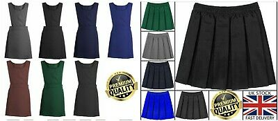 New Back To School Girls Pleated Pinafore School Uniform Dress Skirt 2-16 Years
