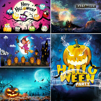 Photography Backgrounds Halloween Night Mystery Grimace Pumpkin Moon Backdrops