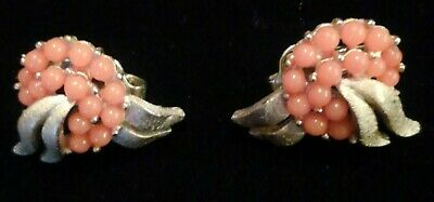 Pair of Vintage Crown Trifari Coral Pressed Glass Clip Earrings Gold Tone