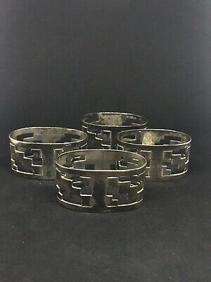 Set Of 4 Vintage Art Deco Open Work Mexican Sterling Silver Napkin Rings