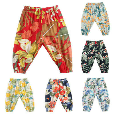 UK Children Toddler Kids Baby Boys Girls Floral Print Casual Long Pants Trousers