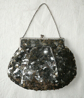 Antique vintage French sequinned purse dolly bag 1920s 30s
