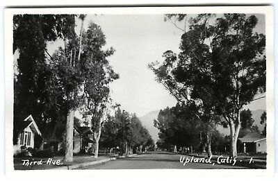 1920s UPLAND CALIFORNIA THIRD AVE,SAN BERNARDINO COUNTY~RPPC REAL PHOTO POSTCARD