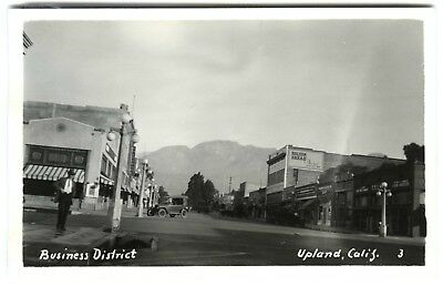 1920s UPLAND CA BUSINESS DISTRICT STORES,SAN BERNARDINO~RPPC REAL PHOTO POSTCARD