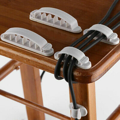 Cable Hooks Clips Self-Adhesive Desk Cord Management Organizer Wire Holder 10x