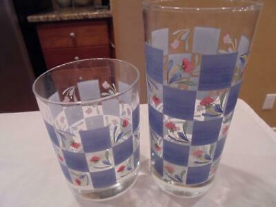 2 Lenox Poppies on Blue Checkerboard glasses double old fahsioned+highball nice!