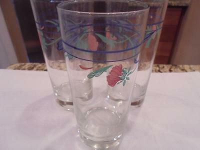 3 Lenox Poppies on blue tumblers glasses beautiful condition - low fast shipping