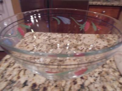 Lenox Poppies on Blue glass serving bowl excellent condition ~ low fast shipping