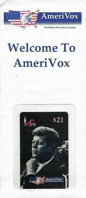1990's AmeriVox President JFK John Kennedy Collectible Prepaid Phone Card