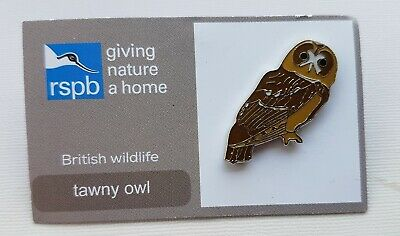 RSPB pin badge - tawny owl - giving nature a home