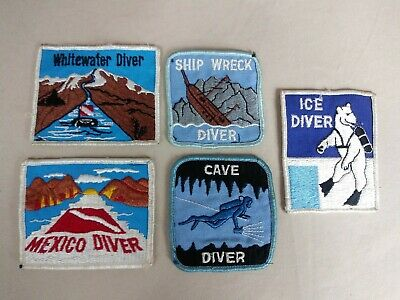 Vintage Scuba Diving LOT OF 5 Patches WHITEWATER, SHIP WRECK, ICE, MEXICO, CAVE