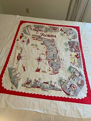 Vintage FLORIDA State Map Souvenir Tablecloth Red Pre Disney Beautiful Cloth.
