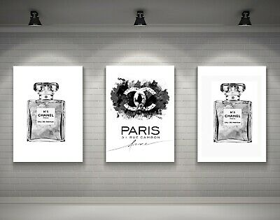 Set Of 3 Coco Chanel Grey Art Perfume A4 Prints - Fashion Prints