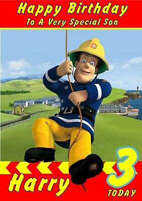 Personalised Birthday Card Fireman Sam  any name/relation/age