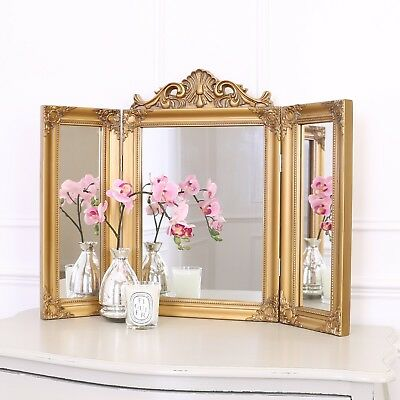 Ella Dressing Table Mirror - Tri Fold French Bedroom Shabby Chic - Antique Gold