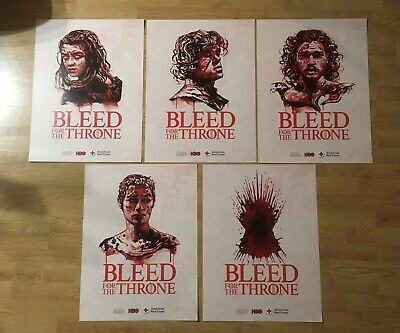 """Bleed for the Throne"" Game of Thrones Promo Posters Full Set of 5 