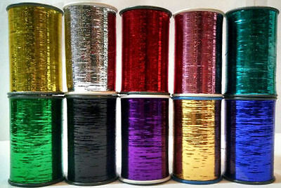 New 10 x Lurex embroidery Thread High Quality Spools full Reels Multi shades