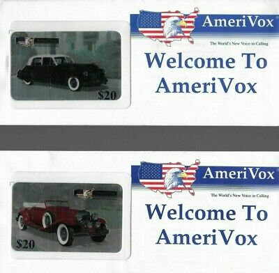 (2) 1990's AmeriVox Vintage Antique Cars Collectible Prepaid Phone Card