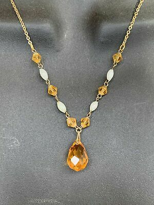 Art Deco Vintage Amber Crystal & Opaque Glass Dropper Necklace