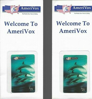 (2) 1990's Amerivox Dolphins Collectible Prepaid Phone Card