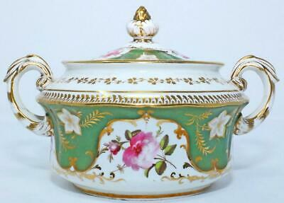 ANTIQUE REGENCY COALPORT ENGLISH PORCELAIN GILDED SUCRIER SUGAR BOWL c1825