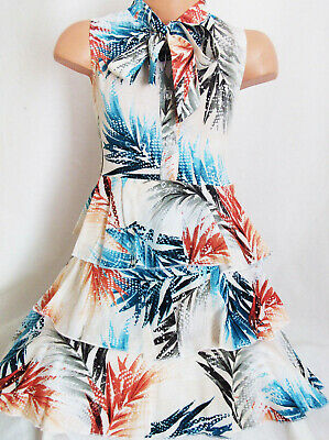 Girls Beige Mix Tropical Print Vintage Tie Neck Tiered Ruffle Cotton Party Dress