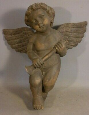 LG Vintage CARVED Wood WINGED PUTTI Old ANGEL & FLUTE Statue CHERUB SCULPTURE