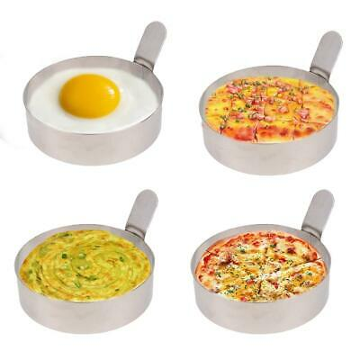 Non Stick Metal Egg Frying Ring Perfect Circle Round Fried/Poach Mold+ Handle