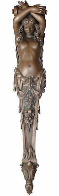 "91.5"" Grand Lady Pillaster Large Faux Bronze Wall Decoration Collectible"