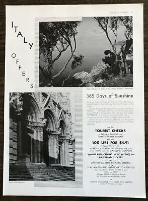 1936 Italian Tourist Information Office Italy Offers 365 Days of Sunshine